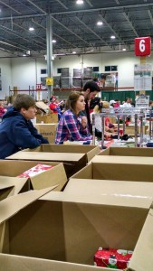 Packaging Christmas Shoe boxes at the Samaritan's Purse Processing Center.